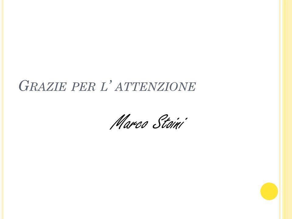 G RAZIE PER L ATTENZIONE Marco Stoini