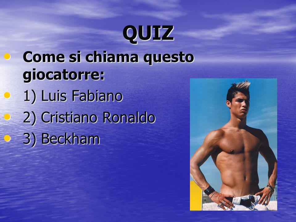 QUIZ Come si chiama questo giocatorre: Come si chiama questo giocatorre: 1) Luis Fabiano 1) Luis Fabiano 2) Cristiano Ronaldo 2) Cristiano Ronaldo 3)