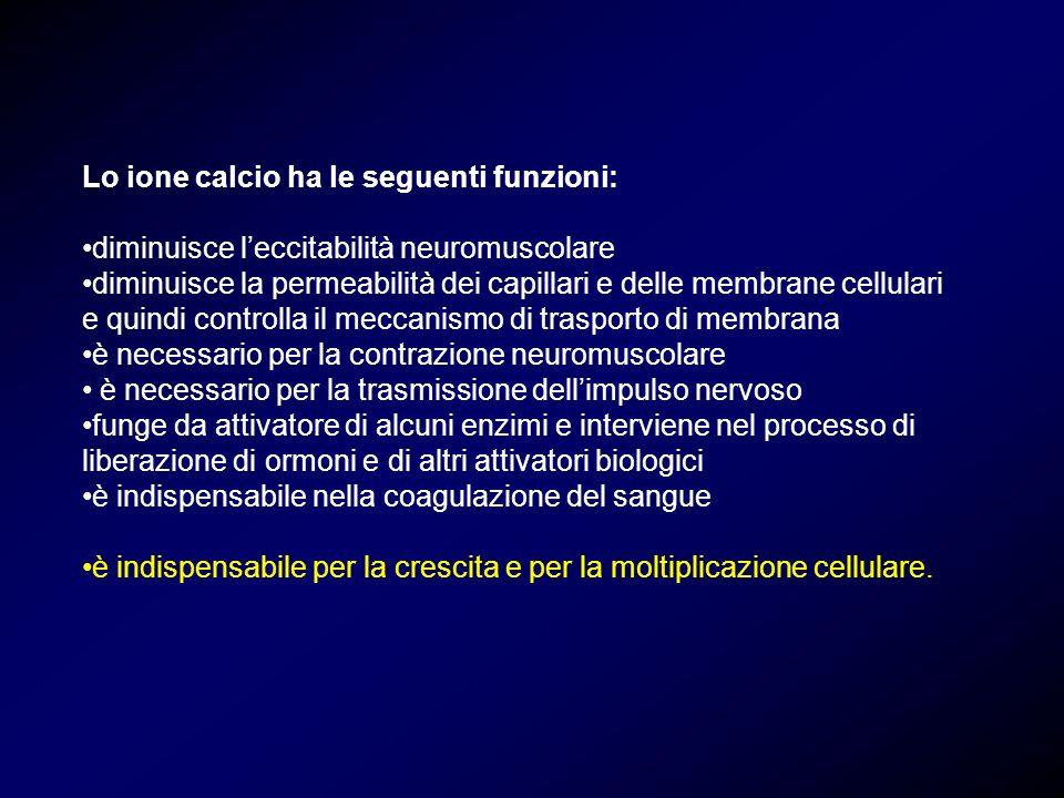 Lo ione calcio ha le seguenti funzioni: diminuisce leccitabilità neuromuscolare diminuisce la permeabilità dei capillari e delle membrane cellulari e