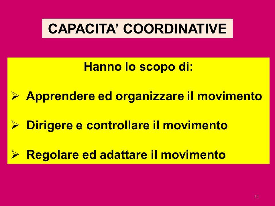 12 CAPACITA COORDINATIVE Hanno lo scopo di: Apprendere ed organizzare il movimento Dirigere e controllare il movimento Regolare ed adattare il movimen
