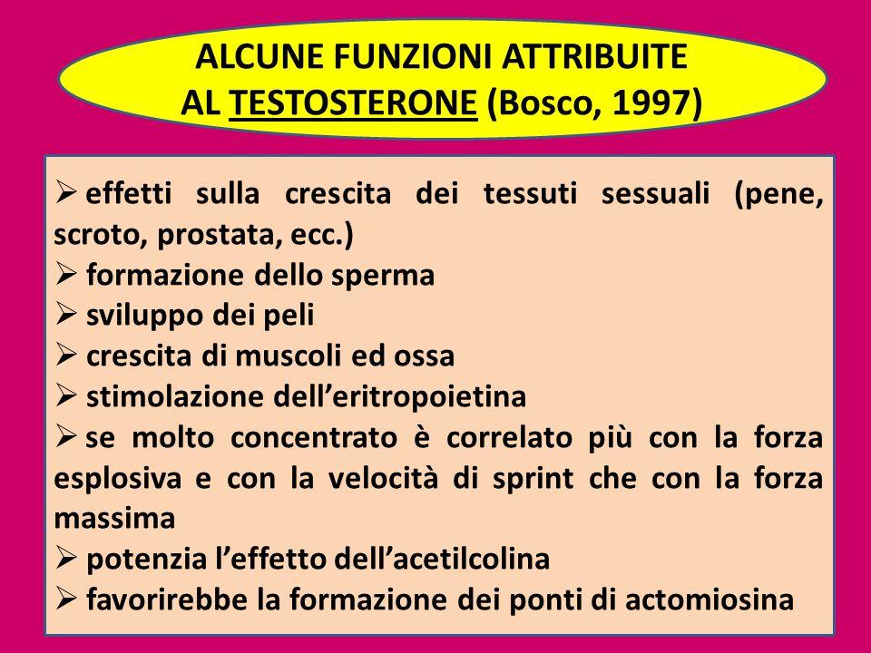 51 ALCUNE FUNZIONI ATTRIBUITE AL TESTOSTERONE (Bosco, 1997) effetti sulla crescita dei tessuti sessuali (pene, scroto, prostata, ecc.) formazione dell