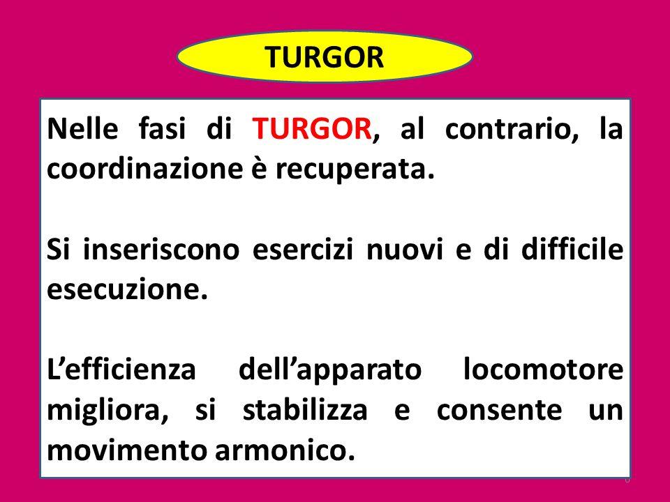 6 TURGOR Nelle fasi di TURGOR, al contrario, la coordinazione è recuperata. Si inseriscono esercizi nuovi e di difficile esecuzione. Lefficienza della