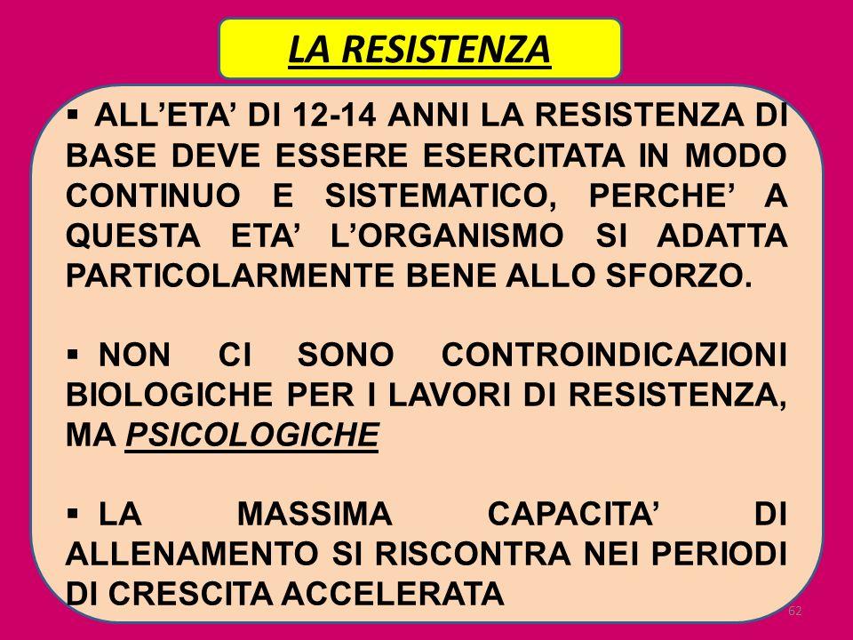 62 LA RESISTENZA ALLETA DI 12-14 ANNI LA RESISTENZA DI BASE DEVE ESSERE ESERCITATA IN MODO CONTINUO E SISTEMATICO, PERCHE A QUESTA ETA LORGANISMO SI A