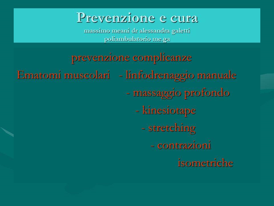 Prevenzione e cura massimo meani dr alessandra galetti poliambulatorio me.ga prevenzione complicanze prevenzione complicanze Ematomi muscolari - linfodrenaggio manuale - massaggio profondo - massaggio profondo - kinesiotape - kinesiotape - stretching - stretching - contrazioni - contrazioni isometriche isometriche