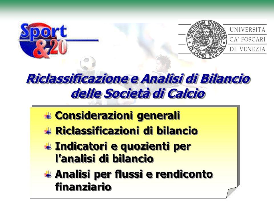 Riclassificazione e Analisi di Bilancio delle Società di Calcio Considerazioni generali Riclassificazioni di bilancio Indicatori e quozienti per lanal