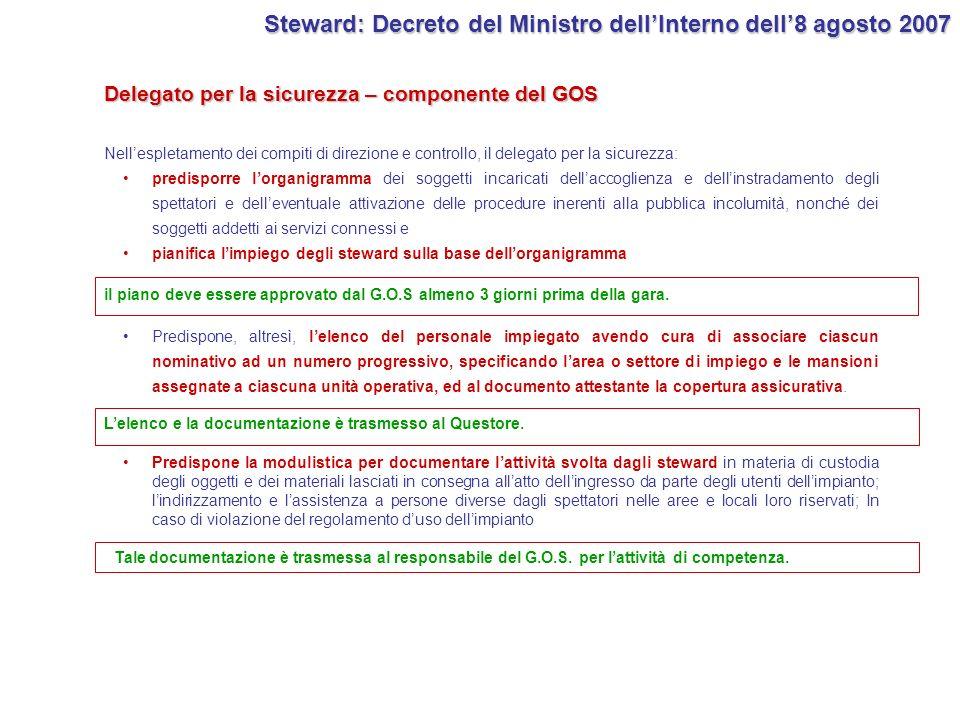 Delegato per la sicurezza – componente del GOS Steward: Decreto del Ministro dellInterno dell8 agosto 2007 Nellespletamento dei compiti di direzione e