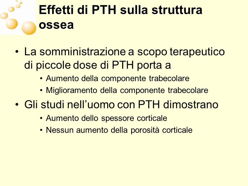 I recettori per PTH PTH-1 (rene, osso) PTH-2 (significato non chiaro) PTH-3 (rene, keratinociti, placenta) PTH-4 (osteociti; riconosce i frammenti di PTH)
