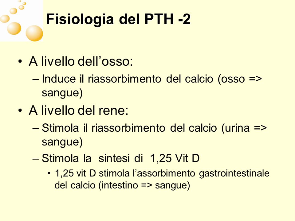 Gli effetti duali di PTH sullosso Somministrazione intermittente => effetto anabolico Alti livelli continui => riduzione dellosso trabecolare