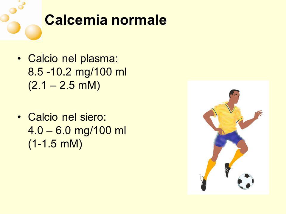 Turbe della calcemia Ipocalcemia: contrattilità muscolare e trasmissione nervosa facilitata => crampi, tetanie, parestesie, laringospasmo Ipercalcemia: nausea, vomito, adinamia, astenia, poliuria, costipazione, rischio nefrocalcinosi o calcolosi renale Ipercalcemia acuta => coma, sonnolenza, insufficienza renale, arresto cardiaco o bradiaritmie (sindromi paraneoplastiche)