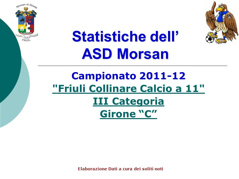 Statistiche dell ASD Morsan Campionato 2011-12 Friuli Collinare Calcio a 11 III Categoria Girone C Elaborazione Dati a cura dei soliti noti