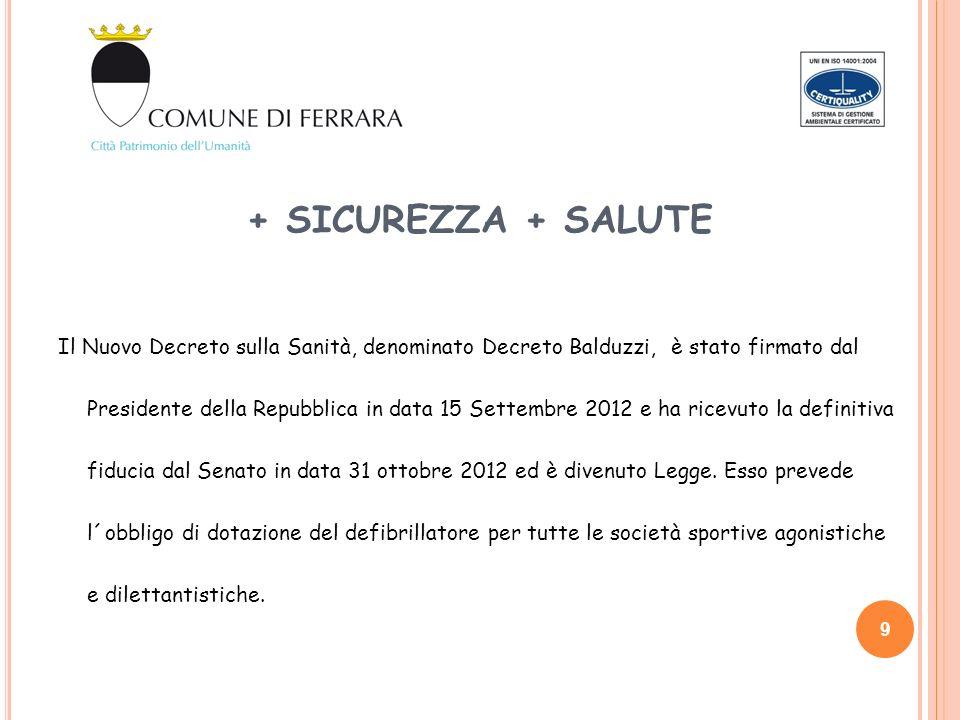 + SICUREZZA + SALUTE Il Nuovo Decreto sulla Sanità, denominato Decreto Balduzzi, è stato firmato dal Presidente della Repubblica in data 15 Settembre