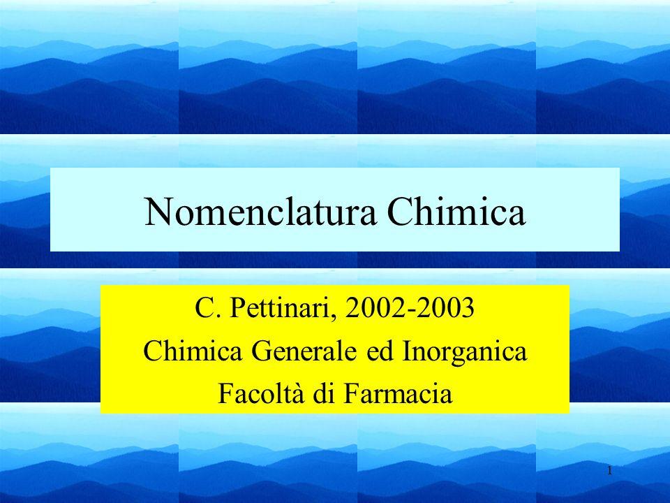 1 Nomenclatura Chimica C. Pettinari, 2002-2003 Chimica Generale ed Inorganica Facoltà di Farmacia