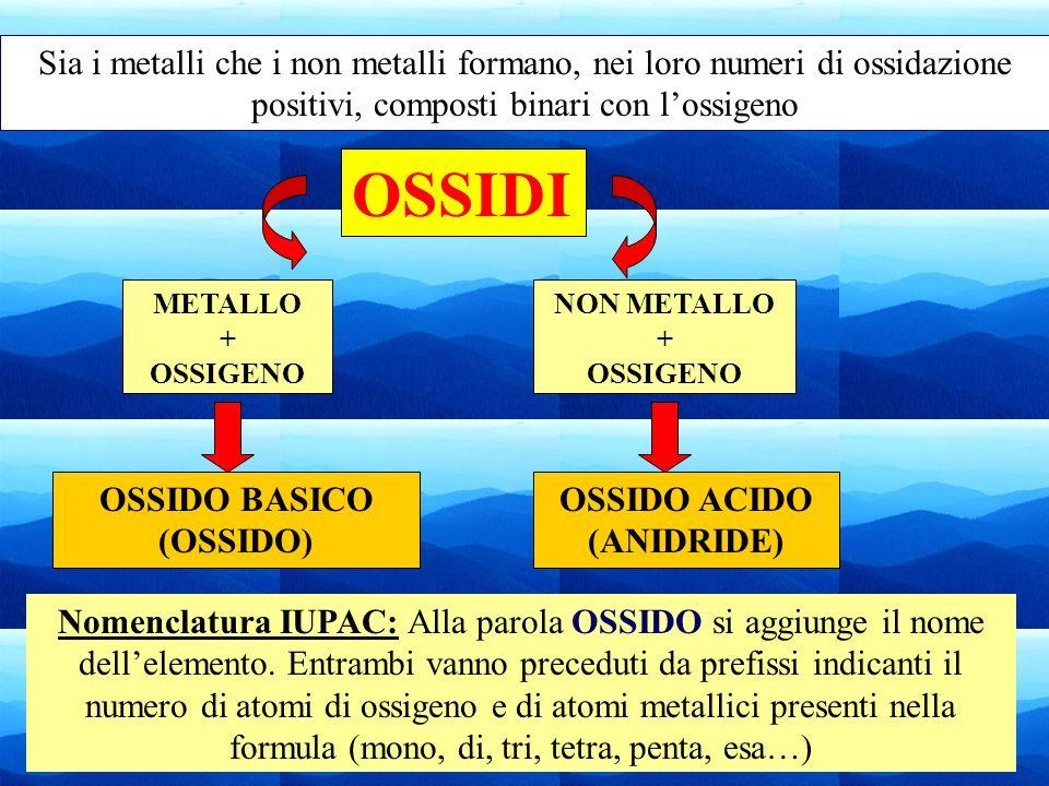20 OSSIDI METALLO + OSSIGENO NON METALLO + OSSIGENO OSSIDO BASICO (OSSIDO) OSSIDO ACIDO (ANIDRIDE) Sia i metalli che i non metalli formano, nei loro n