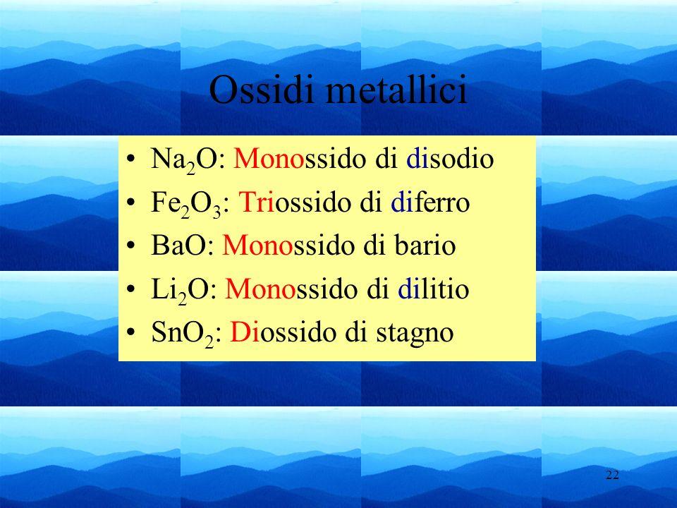 22 Ossidi metallici Na 2 O: Monossido di disodio Fe 2 O 3 : Triossido di diferro BaO: Monossido di bario Li 2 O: Monossido di dilitio SnO 2 : Diossido