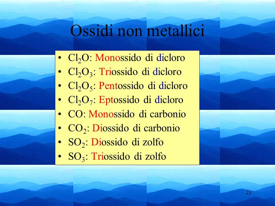 23 Cl 2 O: Monossido di dicloro Cl 2 O 3 : Triossido di dicloro Cl 2 O 5 : Pentossido di dicloro Cl 2 O 7 : Eptossido di dicloro CO: Monossido di carb