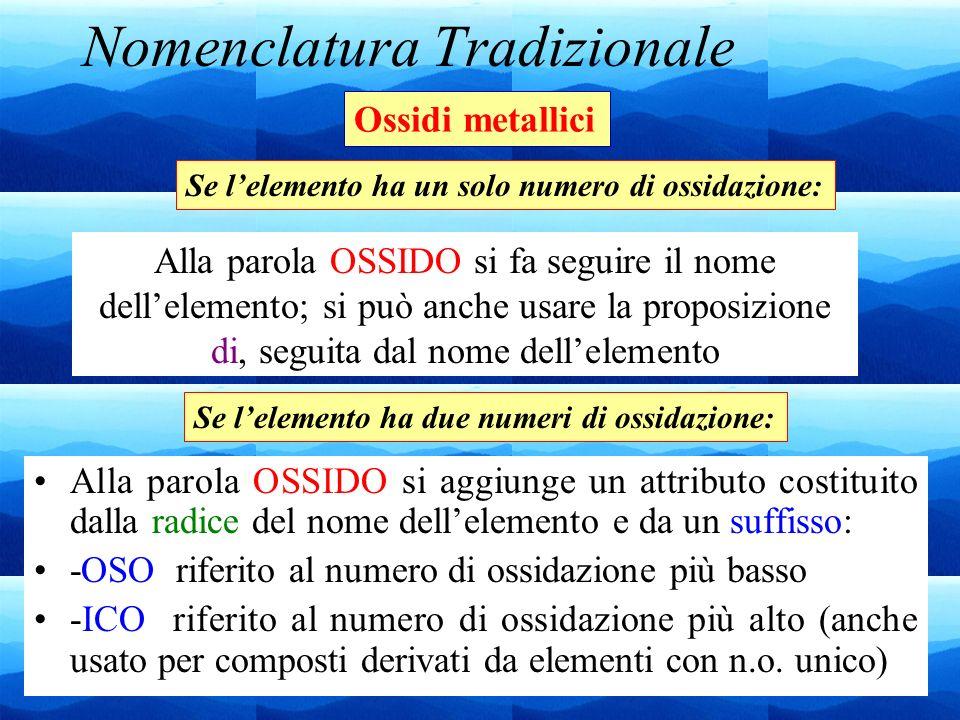 24 Nomenclatura Tradizionale Alla parola OSSIDO si aggiunge un attributo costituito dalla radice del nome dellelemento e da un suffisso: -OSO riferito