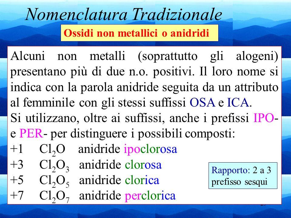 25 Nomenclatura Tradizionale Ossidi non metallici o anidridi Alcuni non metalli (soprattutto gli alogeni) presentano più di due n.o. positivi. Il loro