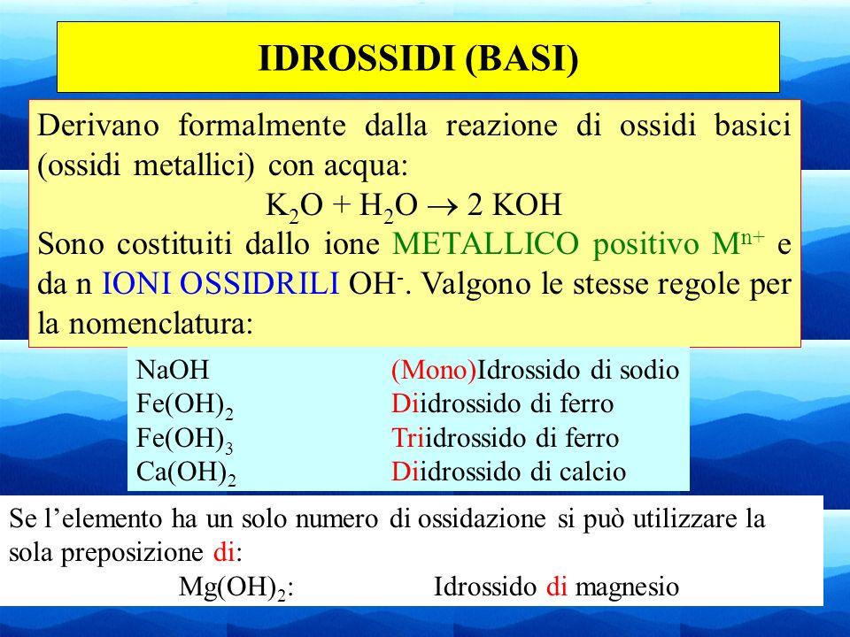 26 IDROSSIDI (BASI) Derivano formalmente dalla reazione di ossidi basici (ossidi metallici) con acqua: K 2 O + H 2 O 2 KOH Sono costituiti dallo ione