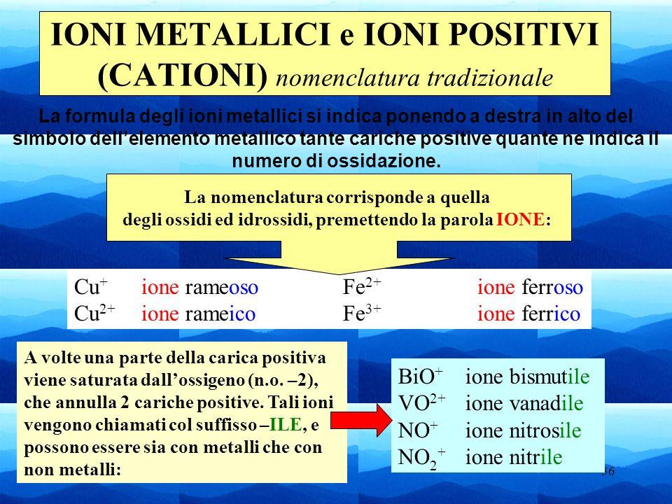 36 Cu + ione rameosoFe 2+ ione ferroso Cu 2+ ione rameicoFe 3+ ione ferrico IONI METALLICI e IONI POSITIVI (CATIONI) nomenclatura tradizionale La form