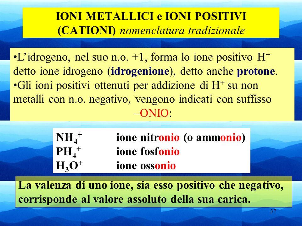 37 IONI METALLICI e IONI POSITIVI (CATIONI) nomenclatura tradizionale Lidrogeno, nel suo n.o. +1, forma lo ione positivo H + detto ione idrogeno (idro