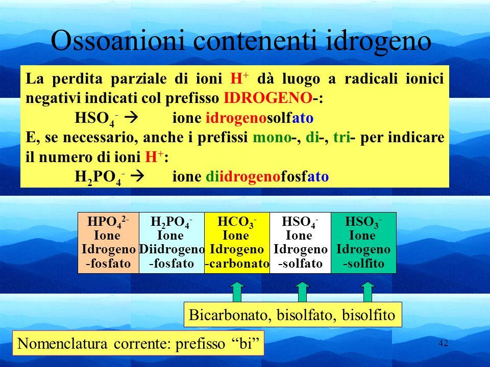 42 Ossoanioni contenenti idrogeno La perdita parziale di ioni H + dà luogo a radicali ionici negativi indicati col prefisso IDROGENO-: HSO 4 - ione id