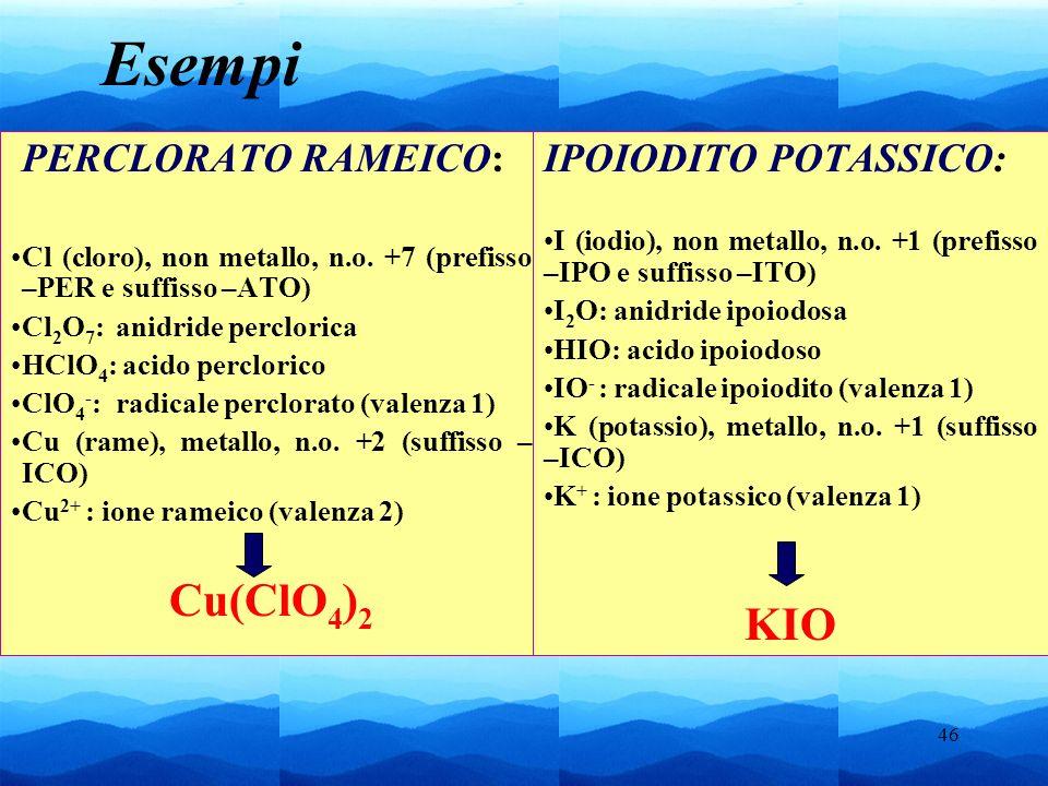 46 PERCLORATO RAMEICO: Cl (cloro), non metallo, n.o. +7 (prefisso –PER e suffisso –ATO) Cl 2 O 7 : anidride perclorica HClO 4 : acido perclorico ClO 4
