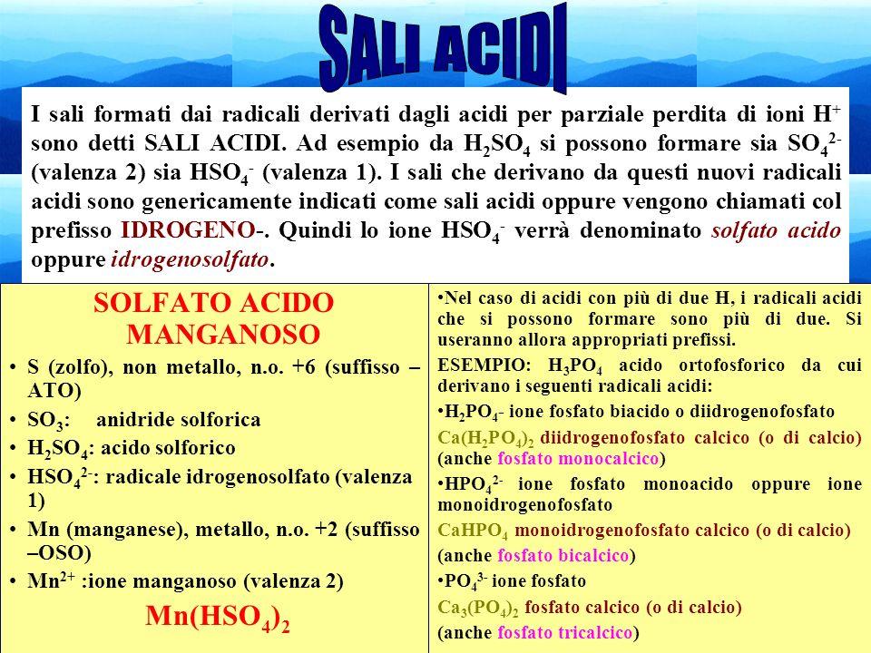 48 I sali formati dai radicali derivati dagli acidi per parziale perdita di ioni H + sono detti SALI ACIDI. Ad esempio da H 2 SO 4 si possono formare