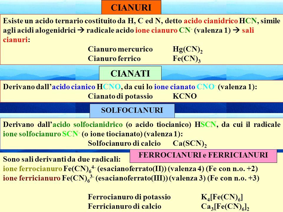 52 Sono sali derivanti da due radicali: ione ferrocianuro Fe(CN) 6 4- (esacianoferrato(II)) (valenza 4) (Fe con n.o. +2) ione ferricianuro Fe(CN) 6 3-