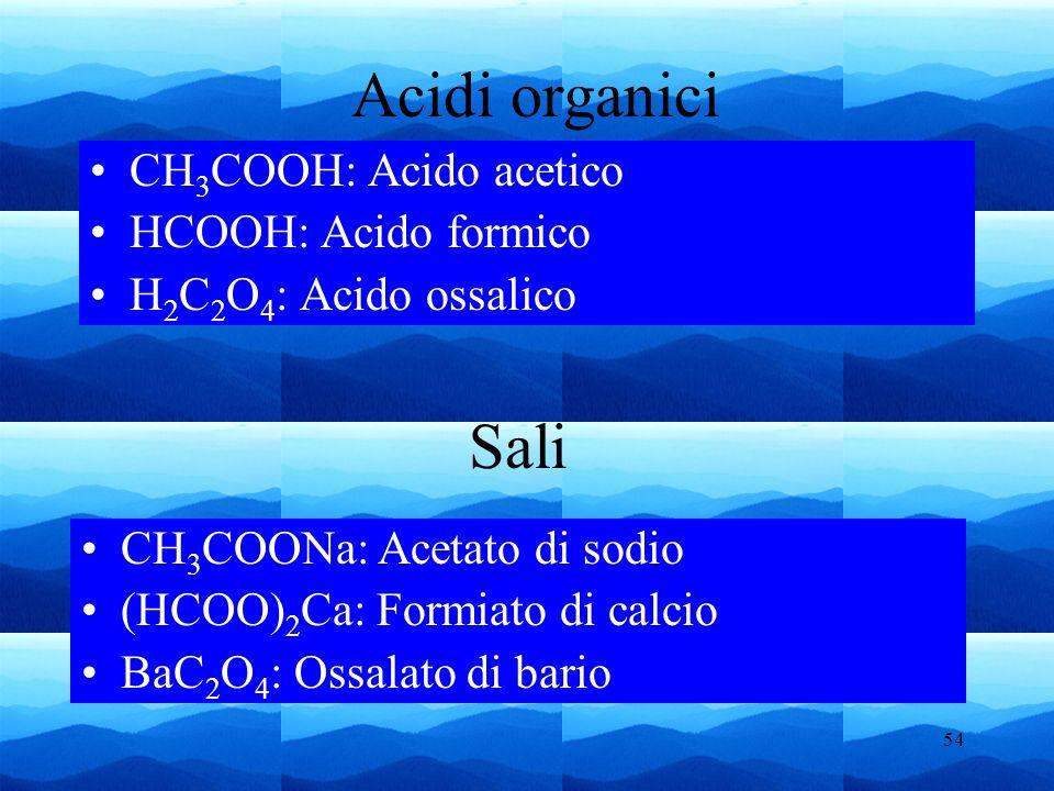 54 Sali CH 3 COOH: Acido acetico HCOOH: Acido formico H 2 C 2 O 4 : Acido ossalico Acidi organici CH 3 COONa: Acetato di sodio (HCOO) 2 Ca: Formiato d