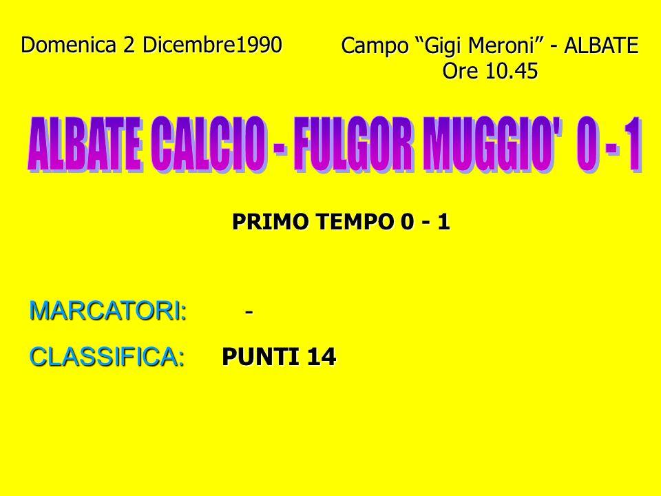 Domenica 25 Novembre 1990 Campo di ROVELLO PORRO Ore 10 PRIMO TEMPO 0 - 1 MARCATORI: GENAZZINI I. (2) - QUINTO CLASSIFICA: PUNTI 14
