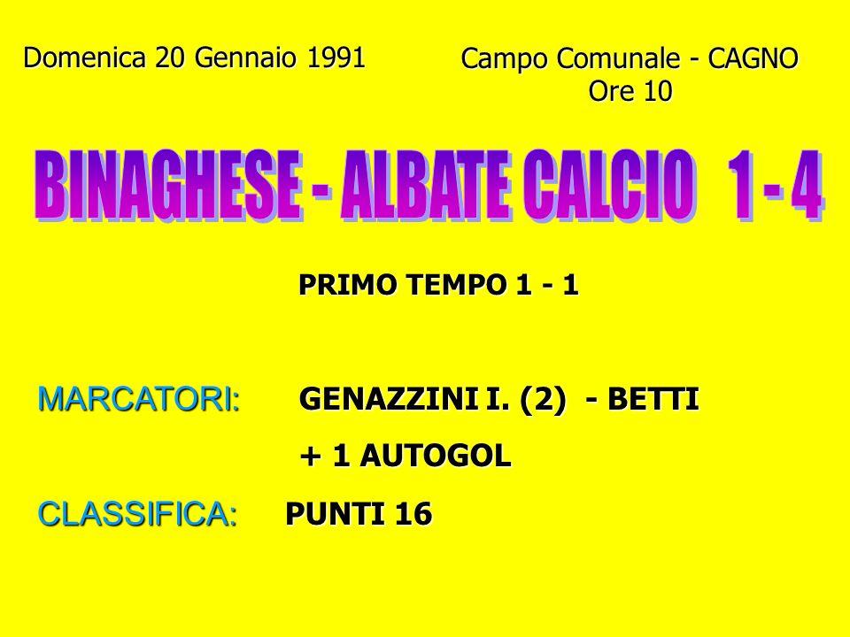 Domenica 6 Gennaio 1991 Campo Gigi Meroni - ALBATE Ore 10.15 PRIMO TEMPO 1 - 0 MARCATORI: VILLA - VANINI (Rig.) GENAZZINI I. - QUINTO GENAZZINI I. - Q
