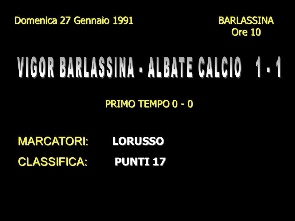 Domenica 20 Gennaio 1991 Campo Comunale - CAGNO Ore 10 PRIMO TEMPO 1 - 1 MARCATORI: GENAZZINI I. (2) - BETTI + 1 AUTOGOL + 1 AUTOGOL CLASSIFICA: PUNTI