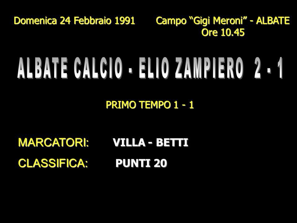 Domenica 10 Febbraio 1991 Campo Comunale - CANZO Ore 10 PRIMO TEMPO 2 - 2 MARCATORI: BETTI- GENAZZINI I. (Rig.) MARCATORI: BETTI - GENAZZINI I. (Rig.)