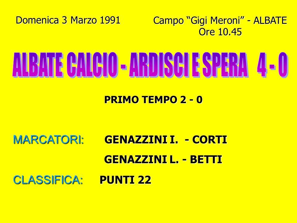 Domenica 24 Febbraio 1991 Campo Gigi Meroni - ALBATE Ore 10.45 PRIMO TEMPO 1 - 1 MARCATORI: VILLA - BETTI CLASSIFICA: PUNTI 20