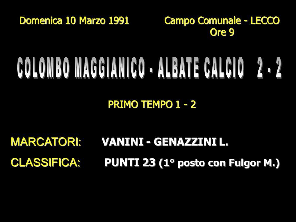Domenica 3 Marzo 1991 Campo Gigi Meroni - ALBATE Ore 10.45 PRIMO TEMPO 2 - 0 MARCATORI: GENAZZINI I. - CORTI GENAZZINI L. - BETTI GENAZZINI L. - BETTI