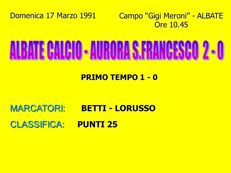 Domenica 10 Marzo 1991 Campo Comunale - LECCO Ore 9 PRIMO TEMPO 1 - 2 MARCATORI: VANINI - GENAZZINI L. CLASSIFICA: PUNTI 23 (1° posto con Fulgor M.)