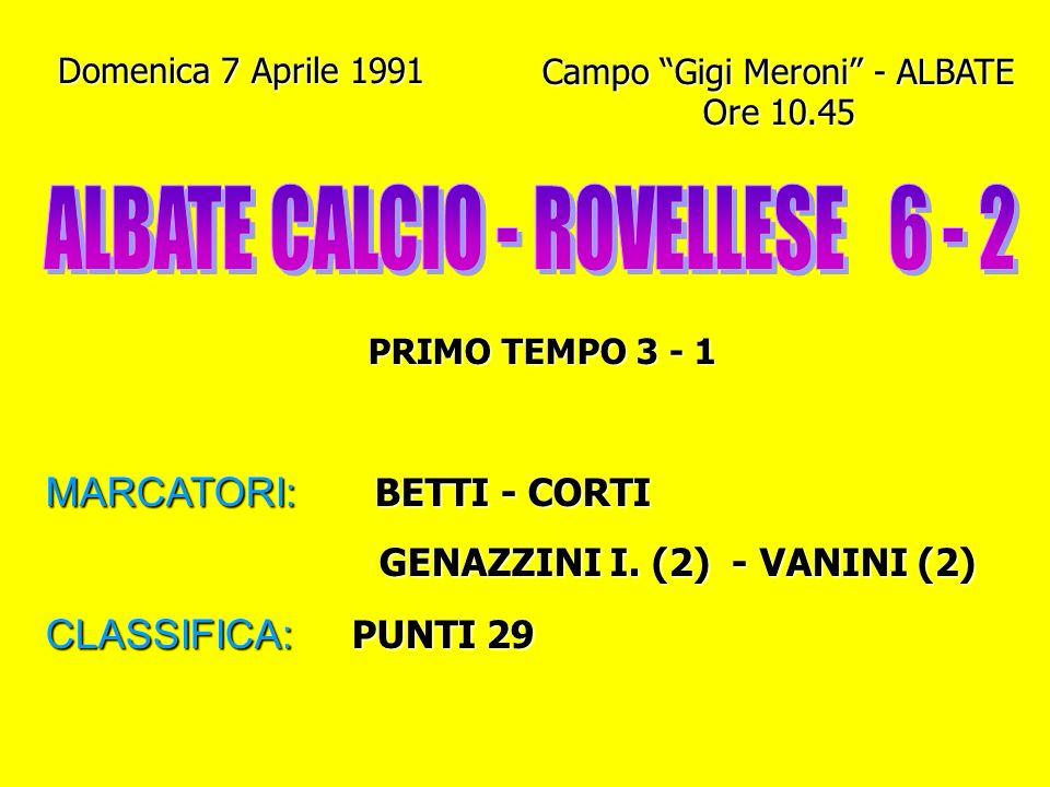 Domenica 24 Marzo 1991 Campo Pasquale Paoli - COMO Ore 10.45 PRIMO TEMPO 0 - 1 MARCATORI: GENAZZINI I. - MOLTENI BALOSSI (Rig.) - VILLA BALOSSI (Rig.)