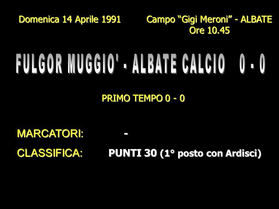 Domenica 7 Aprile 1991 Campo Gigi Meroni - ALBATE Ore 10.45 PRIMO TEMPO 3 - 1 MARCATORI: BETTI - CORTI GENAZZINI I. (2) - VANINI (2) GENAZZINI I. (2)