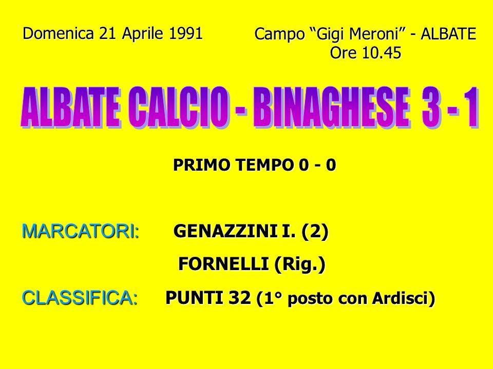 Domenica 14 Aprile 1991 Campo Gigi Meroni - ALBATE Ore 10.45 PRIMO TEMPO 0 - 0 MARCATORI: - CLASSIFICA: PUNTI 30 (1° posto con Ardisci)
