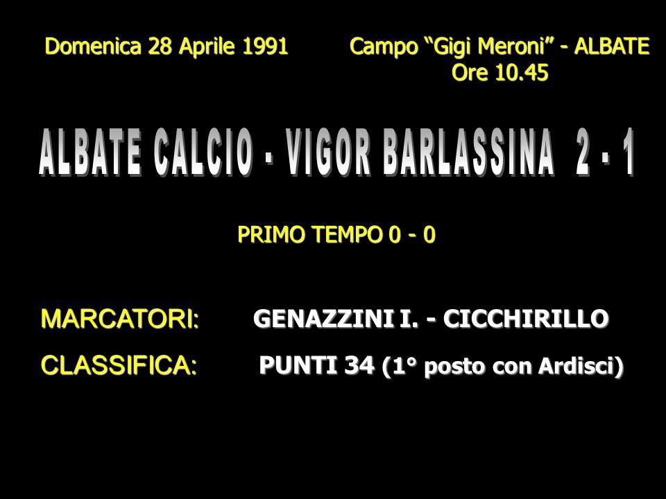 Domenica 21 Aprile 1991 Campo Gigi Meroni - ALBATE Ore 10.45 PRIMO TEMPO 0 - 0 MARCATORI: GENAZZINI I. (2) FORNELLI (Rig.) FORNELLI (Rig.) CLASSIFICA: