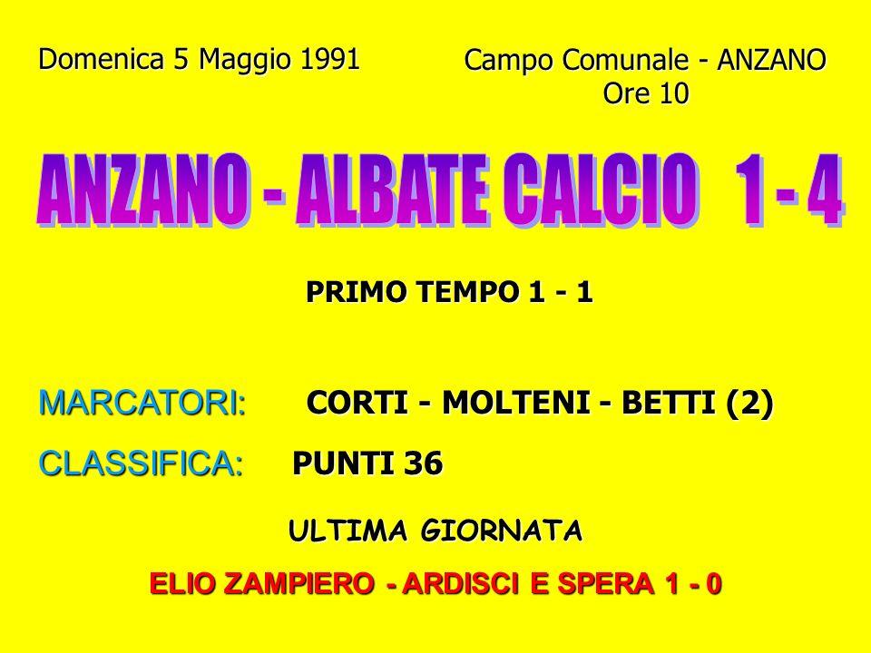 Domenica 28 Aprile 1991 Campo Gigi Meroni - ALBATE Ore 10.45 PRIMO TEMPO 0 - 0 MARCATORI: GENAZZINI I. - CICCHIRILLO CLASSIFICA: PUNTI 34 (1° posto co
