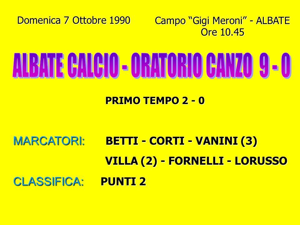 Domenica 7 Ottobre 1990 Campo Gigi Meroni - ALBATE Ore 10.45 PRIMO TEMPO 2 - 0 MARCATORI: BETTI - CORTI - VANINI (3) VILLA (2) - FORNELLI - LORUSSO VILLA (2) - FORNELLI - LORUSSO CLASSIFICA: PUNTI 2