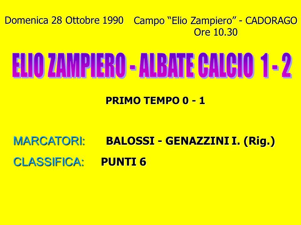 Domenica 28 Ottobre 1990 Campo Elio Zampiero - CADORAGO Ore 10.30 PRIMO TEMPO 0 - 1 MARCATORI: BALOSSI - GENAZZINI I.