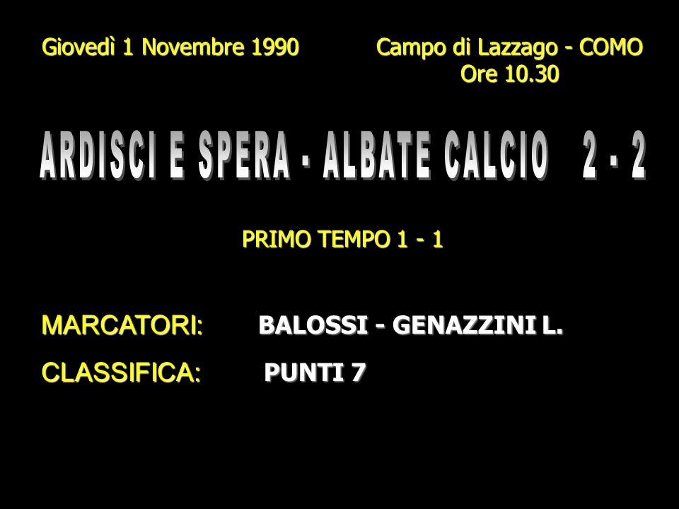 Domenica 28 Ottobre 1990 Campo Elio Zampiero - CADORAGO Ore 10.30 PRIMO TEMPO 0 - 1 MARCATORI: BALOSSI - GENAZZINI I. (Rig.) CLASSIFICA: PUNTI 6