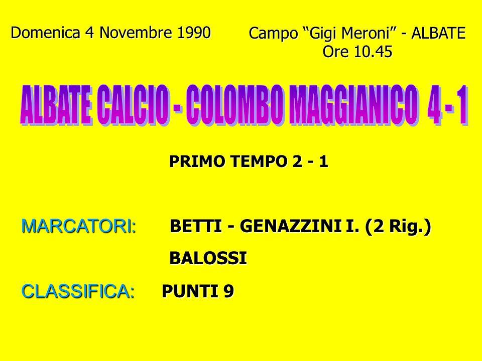 Giovedì 1 Novembre 1990 Campo di Lazzago - COMO Ore 10.30 PRIMO TEMPO 1 - 1 MARCATORI: BALOSSI - GENAZZINI L. CLASSIFICA: PUNTI 7