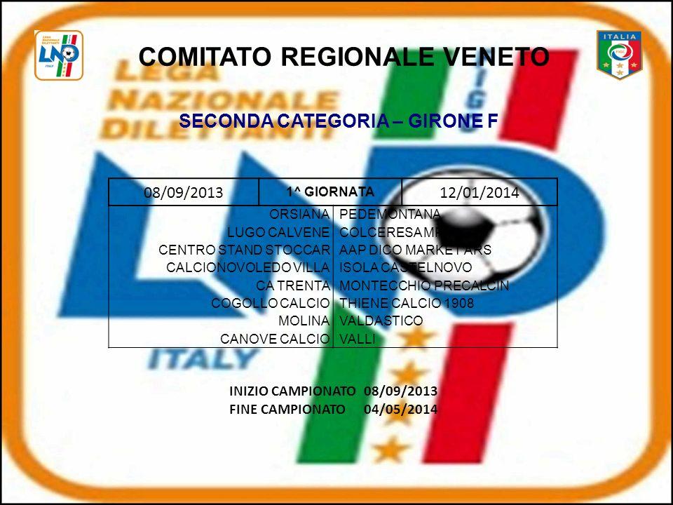 08/09/2013 1^ GIORNATA 12/01/2014 ORSIANAPEDEMONTANA LUGO CALVENECOLCERESA MPM CENTRO STAND STOCCARAAP DICO MARKET ARS CALCIONOVOLEDO VILLAISOLA CASTELNOVO CA TRENTAMONTECCHIO PRECALCIN COGOLLO CALCIOTHIENE CALCIO 1908 MOLINAVALDASTICO CANOVE CALCIOVALLI COMITATO REGIONALE VENETO SECONDA CATEGORIA – GIRONE F INIZIO CAMPIONATO08/09/2013 FINE CAMPIONATO04/05/2014