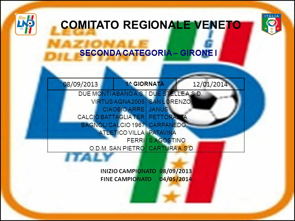 08/09/2013 1^ GIORNATA 12/01/2014 DUE MONTI ABANO A.S.DUE STELLE A.S.D.