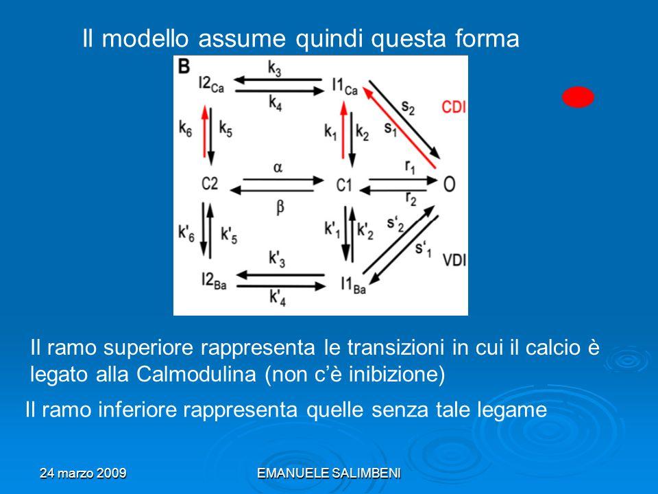 24 marzo 2009EMANUELE SALIMBENI Il modello assume quindi questa forma Il ramo superiore rappresenta le transizioni in cui il calcio è legato alla Calmodulina (non cè inibizione) Il ramo inferiore rappresenta quelle senza tale legame