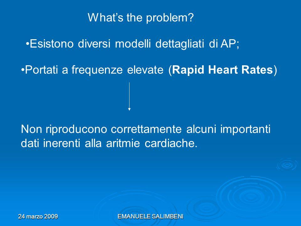 24 marzo 2009EMANUELE SALIMBENI Whats the problem? Portati a frequenze elevate (Rapid Heart Rates) Esistono diversi modelli dettagliati di AP; Non rip