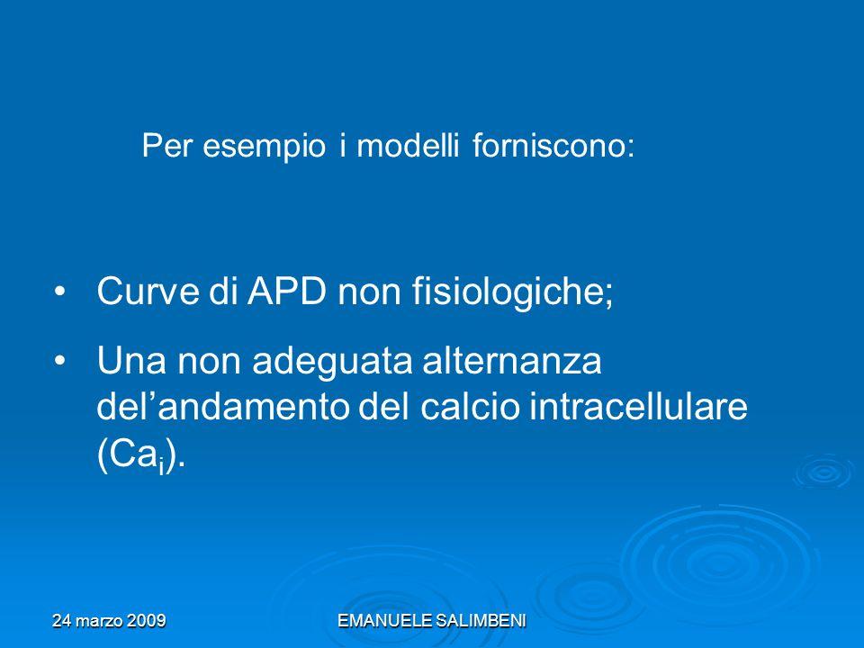 24 marzo 2009EMANUELE SALIMBENI Per esempio i modelli forniscono: Curve di APD non fisiologiche; Una non adeguata alternanza delandamento del calcio intracellulare (Ca i ).